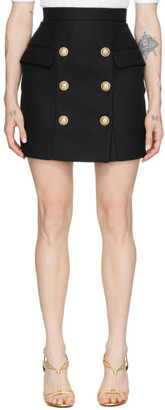 Balmain Black High-Waist 6-Button Miniskirt