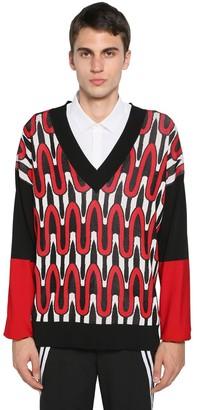 Neil Barrett Viscose & Nylon Jacquard Knit Sweater