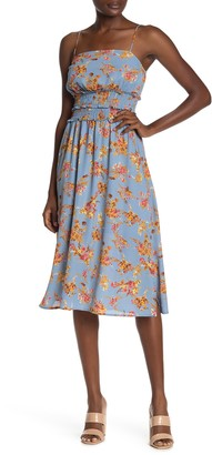Rowa Smocked Waist Floral Print Midi Dress