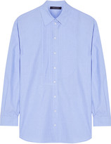 Cédric Charlier Oversized pintucked cotton-chambray shirt