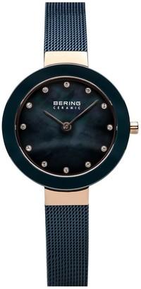 Bering Women's Rosetone & Blue Mesh Bracelet Watch