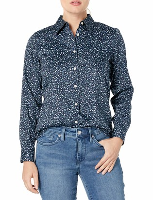 Chaps Women's Petite Long Sleeve Non Iron Cotton Sateen-Shirt