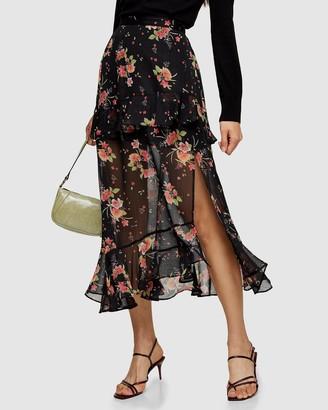 Topshop Floral Metallic Thread Ruffle Maxi Skirt