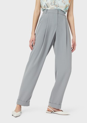 Emporio Armani Darted Trousers In Technical Cady