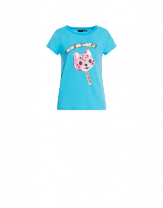 Love Moschino T-shirt Ice Cream Cat Woman Blue Size 40 It - (6 Us)