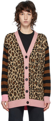 MSGM Brown and Pink Leopard Cardigan