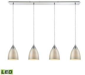 Elk Lighting Merida 4 Light Linear Pan Pendant in Polished Chrome with Silver Linen Glass