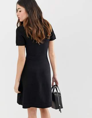 French Connection Ellie knit fit and flare dress-Black