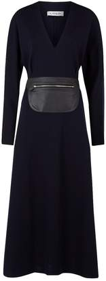 Lanvin Wool Maxi Dress with Leather Belt Detail