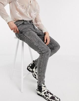 Asos DESIGN high waisted skinny jean in vintage washed black