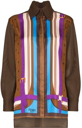 Fendi striped mesh-panelled silk shirt