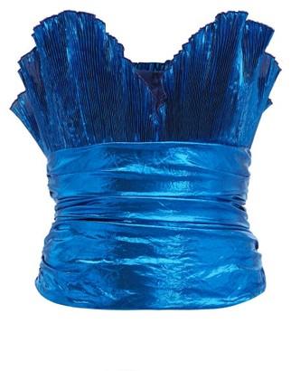 ATTICO The Metallic Plisse Crepe Bustier Top - Womens - Blue