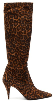 Saint Laurent Kiki Pointed Suede Knee-high Boots - Womens - Leopard