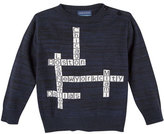 Andy & Evan Crossword Puzzle Pullover Sweater, Blue, Size 2T-7Y