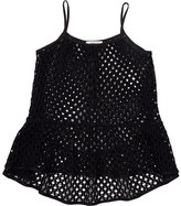 Milly Minis Childrenswear Smocked Netted Swim Coverup, Black, Size 8-14