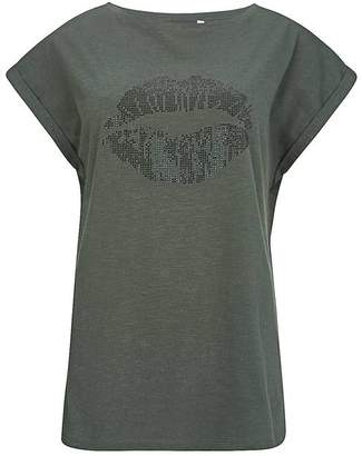 Mint Velvet Khaki Studded Lips T-Shirt