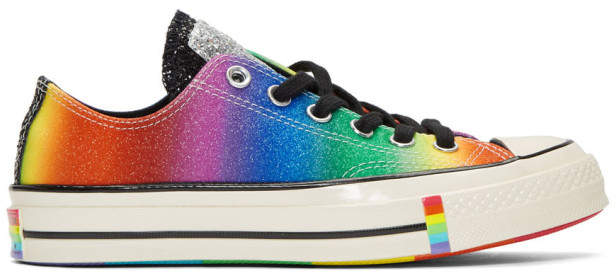 Converse Black and Multicolor Chuck 70 Pride Low Sneakers