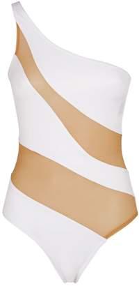 Norma Kamali Snake Cut-Out Mesh Mio Swimsuit