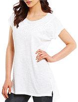 Intro Short Sleeve Solid Eyelet Detail Cotton Slub Jersey Tunic