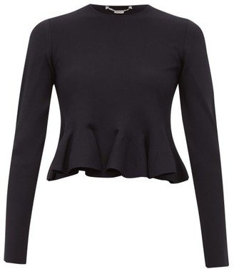 Stella McCartney Punto Di Milano Peplum Top - Womens - Navy