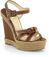 Christian Louboutin Zero Problem Leather Espadrille Wedge Sandals