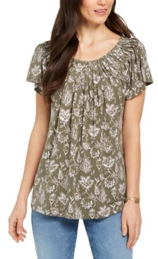 Style&Co. Styled & Co Printed Pleated-Neck Top, Created for Macy's