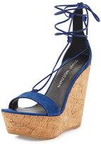 Stuart Weitzman Wrap It Suede Lace-Up Wedge Sandal, Sapphire