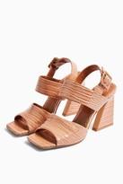 Topshop Womens Natasha Crocodile Flare Heel Sandals - Nude