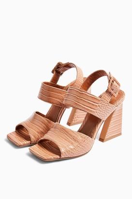 Topshop NATASHA Beige Crocodile Flare Heel Sandals
