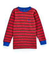 U.S. Polo Assn. Red Heather Stripe Long-Sleeve Thermal Top - Toddler & Boys