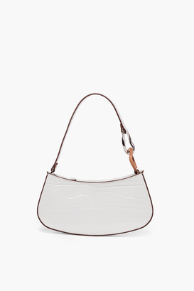 STAUD White Faux Croc Ollie Bag