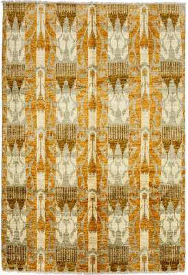 """One-of-a-Kind Joule Ikat Hand-Knotted 6'1"""" x 8'10"""" Wool Caramel Area Rug World Menagerie"""
