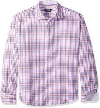 Bugatchi Men's Long Sleeve Tappered Fit Spread Collar Cotton Shirt