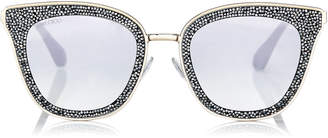 Jimmy Choo LIZZY Grey and Silver Cat-Eye Sunglasses with Crystal Detailing