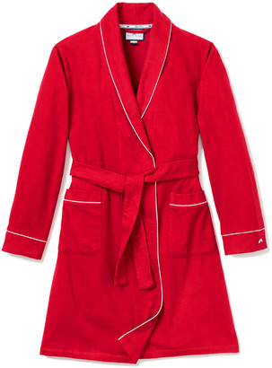 Petite Plume Flannel Contrast-Piping Robe, Size 2-14
