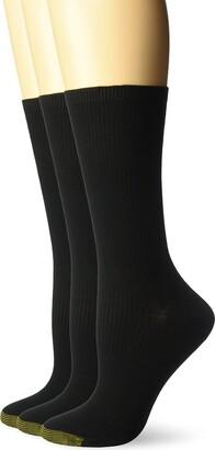 Gold Toe Women's Non-Binding Ribbed Crew Socks 3 Pairs