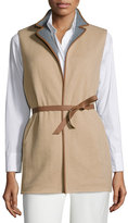 Loro Piana Brett Belted Leather-Trimmed Vest, Golden Shade