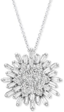 "Wrapped in Love Diamond Starburst 20"" Pendant Necklace (1-1/2 ct. t.w.) in 14k White Gold, Created for Macy's"