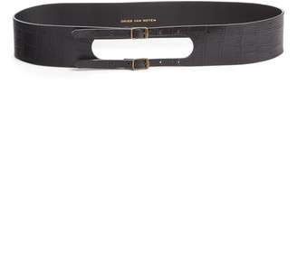 Dries Van Noten Double Buckle Croc Embossed Leather Belt