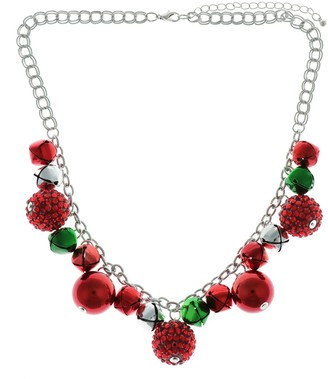 Holiday Pave Ornament & Bell Statement Necklace