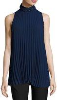 Max Studio Sleeveless Pleated High-Neck Blouse, Purple Blue