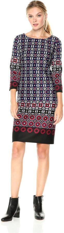 Nine West womens10651010Geo Border 3/4 Sleeve Scuba Dress Three-Quarter-Sleeve Dress - Multi - 16