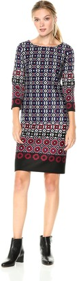 Nine West womens10651010Geo Border 3/4 Sleeve Scuba Dress Three-Quarter-Sleeve Dress - Multi - 16