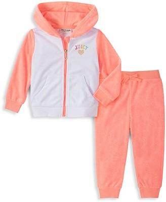 Juicy Couture Girl's 2-Piece Colorblock Zip Sweater Sweatpants