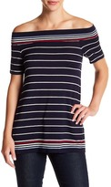 Max Studio Off-the-Shoulder Striped Tee
