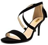 Qupid Lita Women Open Toe Suede Black Sandals.