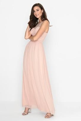 Little Mistress Grace Pink Embellished Neck Maxi Dress