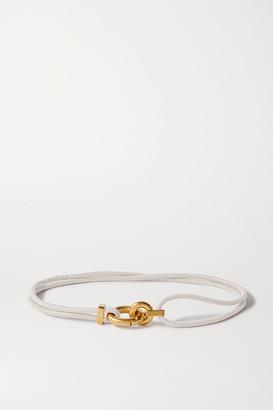 Bottega Veneta Ruched Leather Waist Belt - White