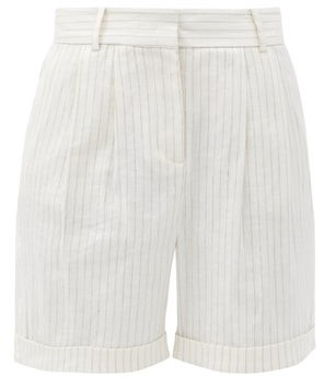 Frame Striped Linen-blend Shorts - White