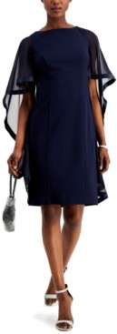 Jessica Howard Crepe Cape Sheath Dress